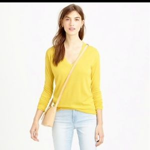 J Crew Yellow V neck sweater small